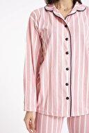 TAMPAP %100 Pamuk Gömlek Yaka Düğmeli Beyaz Çizgili Pembe Kadın Gecelik Pijama Takımı