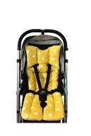 Pamuk Atölyesi Sarı Yıldız Ve Yeşil Ormanlı Bebek Arabası Minderi - Çift Taraflı