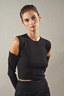 Love My Body Kadın Siyah Omuzları Açık Crop Triko Kazak
