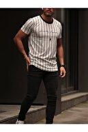 JovemStore Unisex Beyaz Baskılı Çizgili T-shirt