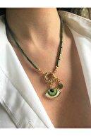 floom jewelry Göz Detaylı Yeşil Boru Hematit Kolye