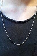 MedBlack Jewelry Unisex Gümüş Ince Yılan Model Zincir Kolye 60 Cm