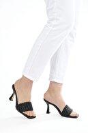 Marjin Kadın Siyah Topuklu Terlik Kelaz