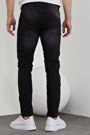 Tarz Cool Erkek Siyah Taşlı Slim Fit Jean Pantolon