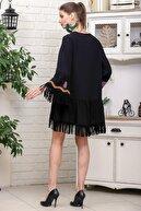 Chiccy Kadın Siyah V Yaka Çiçek Nakış Detaylı Püskül Bağlamalı Saçaklı Dokuma Elbise M10160000EL95934