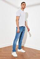 TRENDYOL MAN Koyu Mavi Erkek Tırmık Destroylu Slim Fit Jeans TMNSS21JE0067