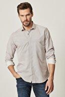 Altınyıldız Classics Erkek Beyaz-Kahverengi Tailored Slim Fit Dar Kesim Küçük İtalyan Yaka Baskılı Gömlek