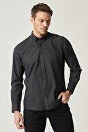 Altınyıldız Classics Erkek Siyah-Gri Tailored Slim Fit Dar Kesim İtalyan Yaka Baskılı Gömlek
