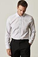 Altınyıldız Classics Erkek Beyaz-Siyah Tailored Slim Fit Dar Kesim İtalyan Yaka Kareli Gömlek