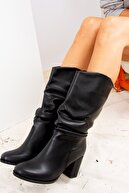 Fox Shoes Siyah Suni Deri Kadın Çizme J820011409