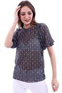RODNEY Kadın Siyah Beyaz Pullu Transparan Tshirt
