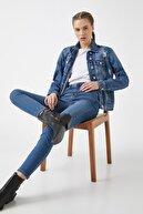 Koton Kadın Mavi Yüksek Bel Dar Kesim Dar Paça Pantolon