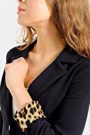 Jument Kadın Siyah Yakalı Flato Cepli Kolu Duble Uzun Kol Ofis Şık Ceket 30017