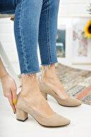 Nirvana ayakkabı Kadın Ten Süet Kısa Kalın Topuklu Ayakkabı