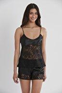 Pierre Cardin Kadın Saten Dantelli Pijama Şort Takım - 445 Siyah