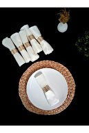 Ion Peçete Yüzüğü Altın Renk Labirent Desenli Paslanmaz Çelik 6'lı Set