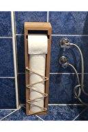 Teknik Ahşap Kayın Ağacı Hazneli Tuvalet Kağıdı Standı