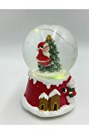 GÖBEKLİTEPE TİCARET Yılbaşı Kar Küresi Merry Christmas Müzikli Animasyon Ledli Pilli Motorlu