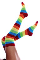 lovebox Şerit Detaylı Gökkuşağı Desen Pamuklu Dizüstü Spor Çorap Renkli Spor Çorap