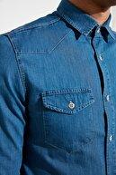 TRENDYOL MAN Mavi Erkek Slim Fit İnce Kumaş Western Denim  Gömlek TMNSS21GO0715