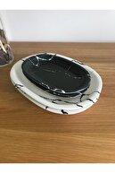 Keramika 4 Parça Kayık Tabak Mermer Desen Siyah-beyaz