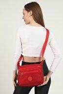 GÜLÇEM butik Kadın Kırmızı Krinkıl Kumaş Beş Bölmeli Çapraz Ve Omuz Çantası