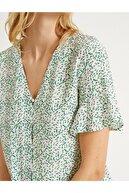 Koton Kadın Çiçekli Firfirli Dügmeli Bluz