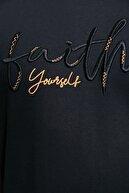 Sateen Men Erkek Siyah Nakışlı T-Shirt