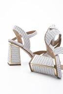 Marjin Kadın Beyaz Klasik Topuklu Ayakkabı Akuze