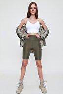 Trend Alaçatı Stili Kadın Haki Toparlayıcı Etkili Yüksek Bel Biker Tayt ALC-X5901