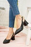 Moda Değirmeni Siyah Cilt Kadın Klasik Topuklu Ayakkabı