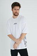 XHAN Beyaz Robot Kafa Baskılı Oversize T-shirt 1kxe1-44639-01