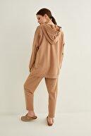 adL Kadın Camel Cepli Kapüşonlu Örme Swetshirt