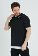XHAN Siyah Baskılı Garnili T-shirt 1kxe1-44637-02