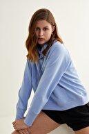 adL Kadın Mavi Bato Yaka Sweatshirt