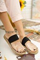 Muggo Kadın Siyah Şeffaf Şeritli Sandalet