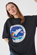 Addax Kadın Füme Baskılı T-Shirt P9359-1 - T4 Adx-0000021967