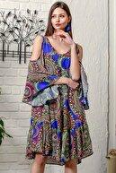 Chiccy Kadın Saks Mavi Omuzları Pencereli Geometrik Desen Kolları Volanlı Salaş Elbise