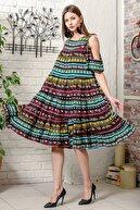 Chiccy Kadın Siyah Omuzları Pencereli Tribal Desen Salaş Dokuma Elbise
