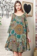 Chiccy Kadın Nefti Omuzları Pencereli Geometrik Desen Kolları Volanlı Salaş Elbise