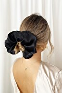 BYHELS Kadın Xl Siyah Renk Lüx Saten Lastik Toka
