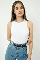 Vis a Vis Kadın Beyaz Kaşkorse Bel Üstü Kolsuz  Bluz STN904KBL166