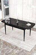 Canisa Concept 'via' Açılabilir Mutfak Masası Takımı-siyah Masa+4 Adet Bordo Sandalye