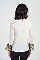 Sense Kadın Ekru Ön Ve Arka Roba Kol Ucu İşlemeli Tül Kollar Puantiyeli Tül Bluz | Blz31654