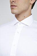 D'S Damat Erkek Slim Fit Beyaz Düz Nano Care Gömlek