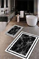 Seçkin Home Modern Yıkanabilir Kaymaz Taban Dijital Baskı - Banyo Seti 2'li 70 X 110 , 60 X 70