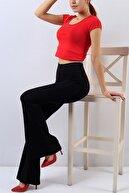 bayansepeti Kadın Siyah Esnek Krep Kumaş İspanyol Paça Yüksek Bel Pantolon