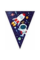 BalonEvi Lacivert Kozmik Galaksi Uzay Temalı Üçgen Flama