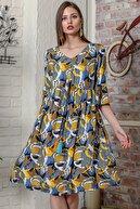 Chiccy Kadın Mavi Tropikal Desen Kolları Volanlı Robadan Büzgülü Püsküllü Bağcıklı Salaş Dokuma Elbise