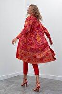 Join Us Kadın Kırmızı Desenli Multi Triko Hırka